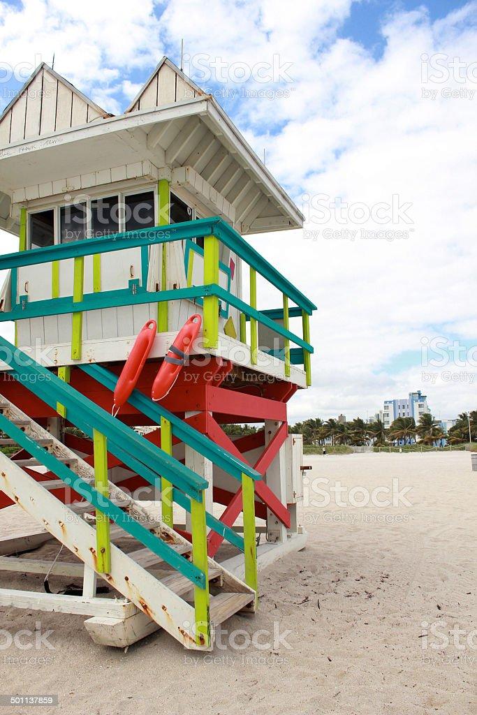Lifeguard house in Miami Beach Florida stock photo