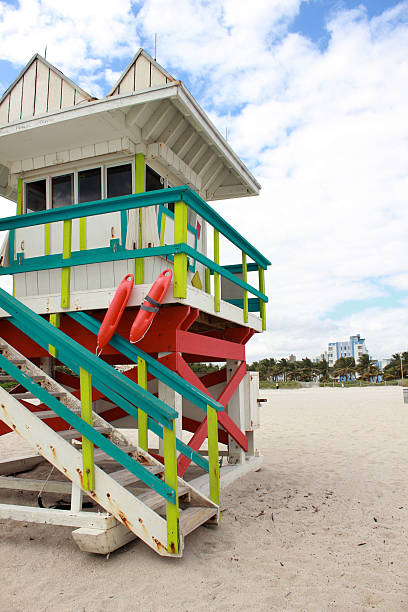 Lifeguard house in Miami Beach Florida stock photo