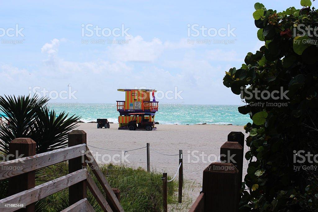 Lifeguard house, Miami Beach royalty-free stock photo