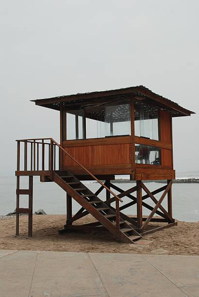 Lifeguard house on the beach stock photo