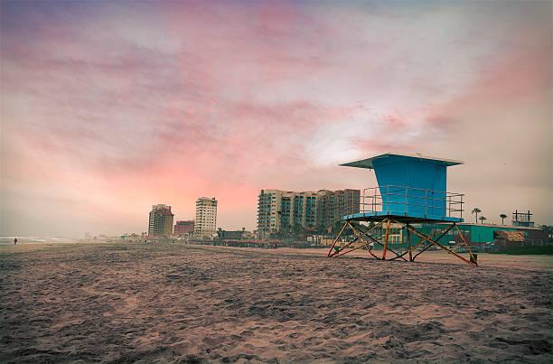 Lifeguard hut and hotels at Rosarito Beach - Mexico stock photo