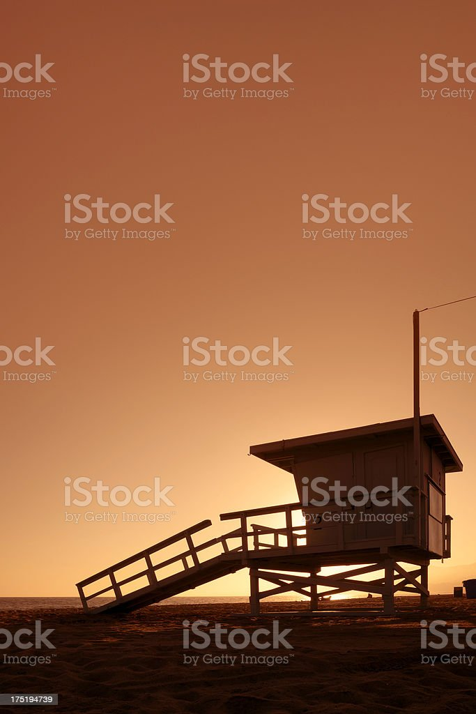 Lifeguard hut at sunset royalty-free stock photo