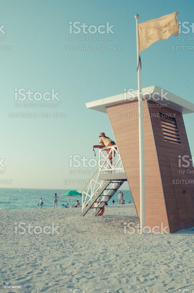 Lifeguard hut in Jumeirah Beach in Dubai stock photo