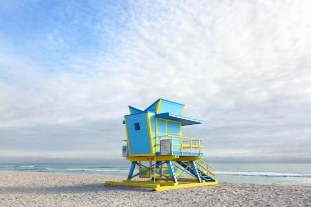 Lifeguard hut in South Beach, Miami Beach stock photo