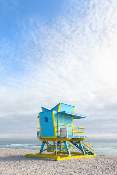 Lifeguard hut Miami Beach stock photo