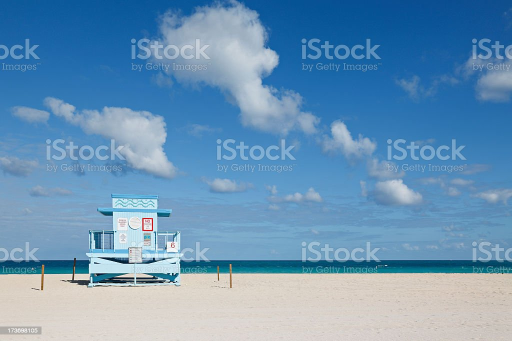 A lifeguard hut on a beach on a pretty day royalty-free stock photo