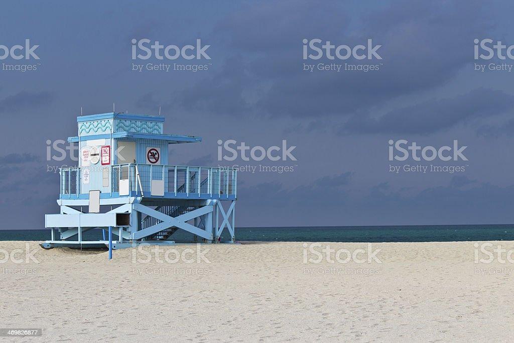Lifeguard hut on Haulover Park Beach in Florida stock photo