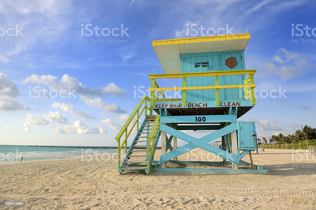 lifeguard hut on Miami South Beach at sunrise royalty-free stock photo