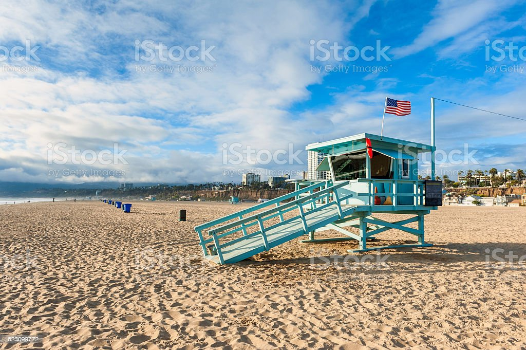 Lifeguard Hut on Santa Monica Beach California stock photo