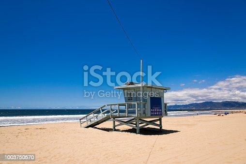 Lifeguard station at the Venice beach in Santa Monica, California.