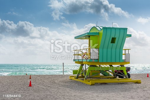 Lifeguard hut in a quite morning in Miami Beach.