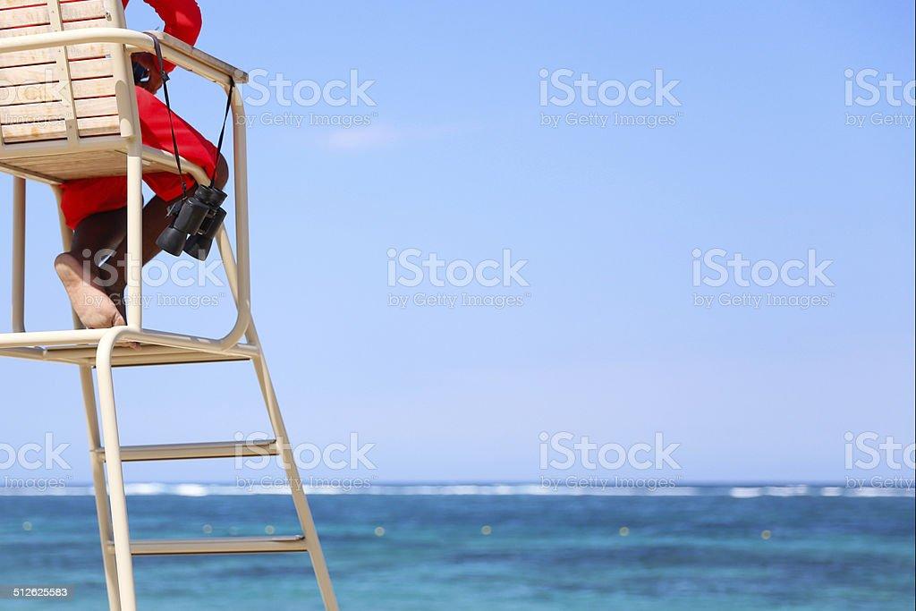 Lifeguard on the beautiful beach stock photo