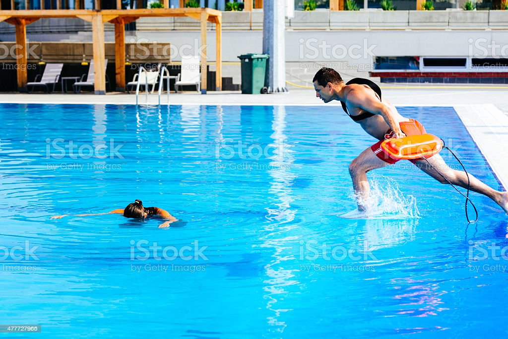 Lifeguard rescue training stock photo