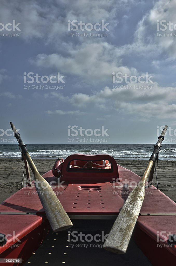 Lifeguard row boat royalty-free stock photo