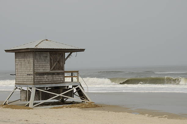 Lifeguard stand on the Eastern Shore Coast, Maryland stock photo