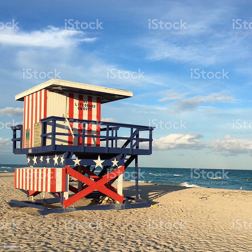 Lifeguard Stand American themed lifeguard stand on Miami South Beach, Miami, Florida, Unated States. Architecture Stock Photo
