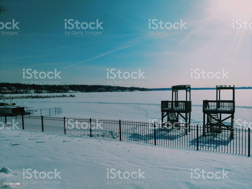 Lifeguard Stands Covered in Snow 1 stock photo