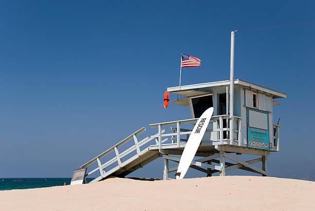 lifeguard station at the beach - badvaktshytt bildbanksfoton och bilder