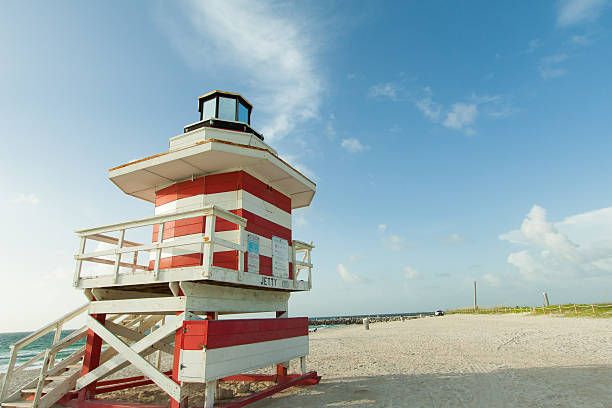 Lifeguard station at the start of South Beach stock photo