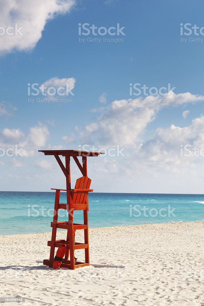 Lifeguard Station in Tropical Caribbean Beach, Riviera Maya, Cancun, Mexico stock photo