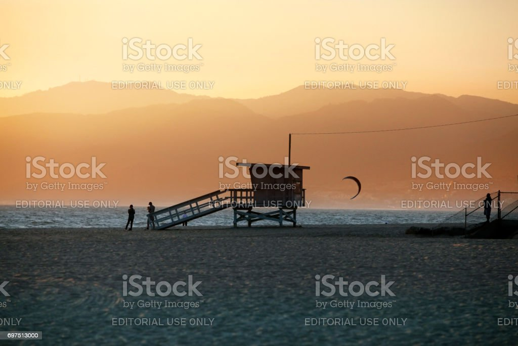Lifeguard Station on Venice Beach in California stock photo