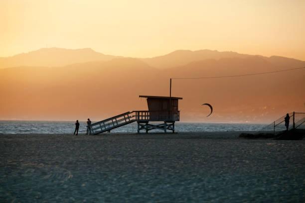 Lifeguard Station on Venice Beach in California stock photo