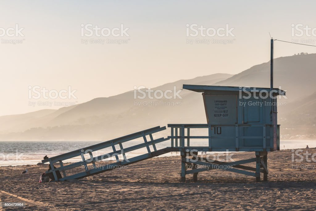 Lifeguard Station on Zuma Beach in Malibu, California stock photo