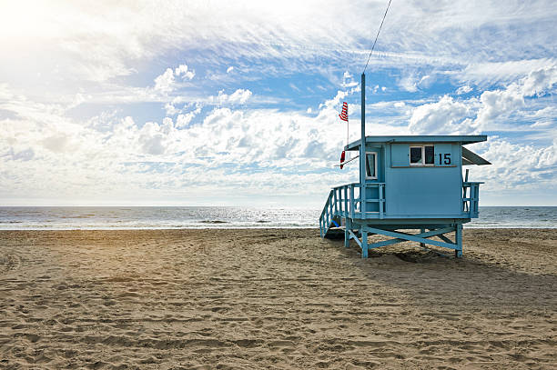 Lifeguard Station Lifeguard hut on the beach on a picturesque day venice beach stock pictures, royalty-free photos & images