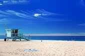 istock Lifeguard station with american flag on Hermosa beach, Californi 476666720