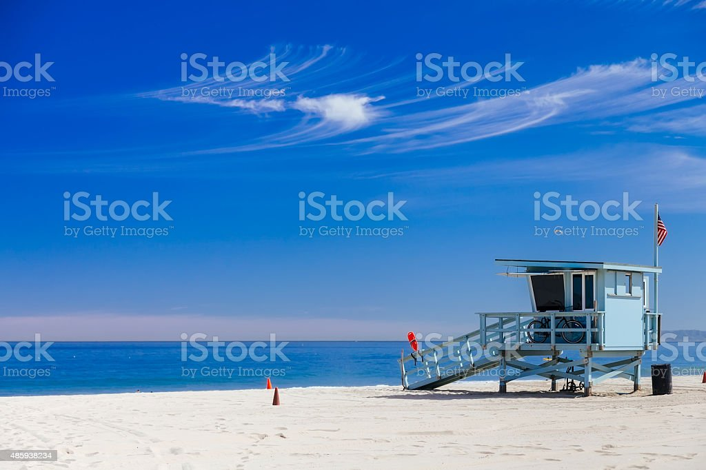 Lifeguard station with american flag on Hermosa beach stock photo