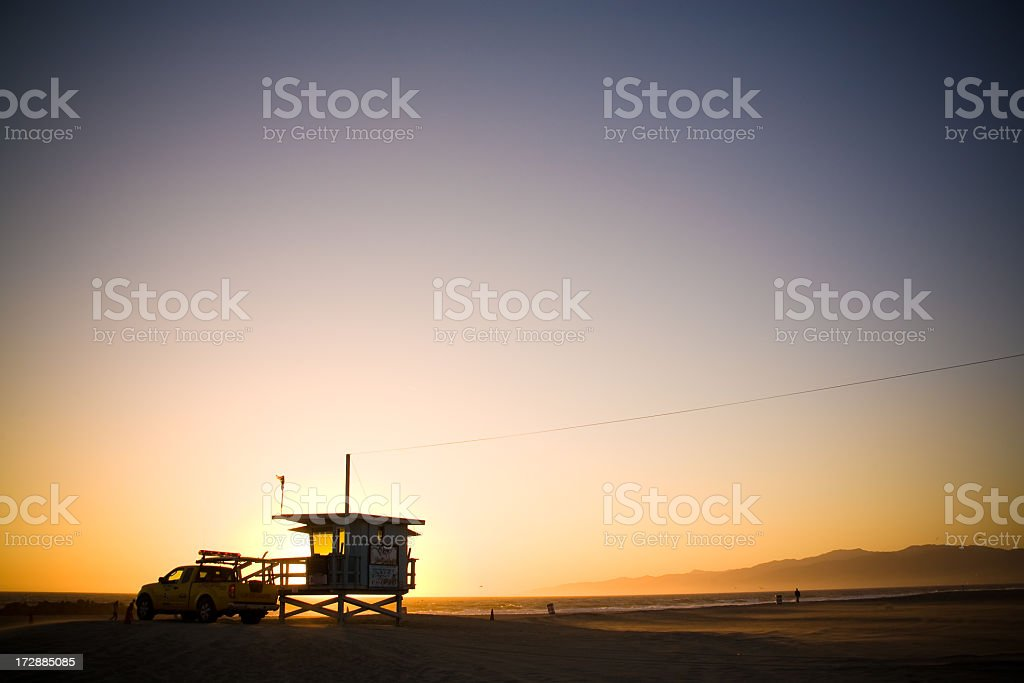 Lifeguard Sunset royalty-free stock photo