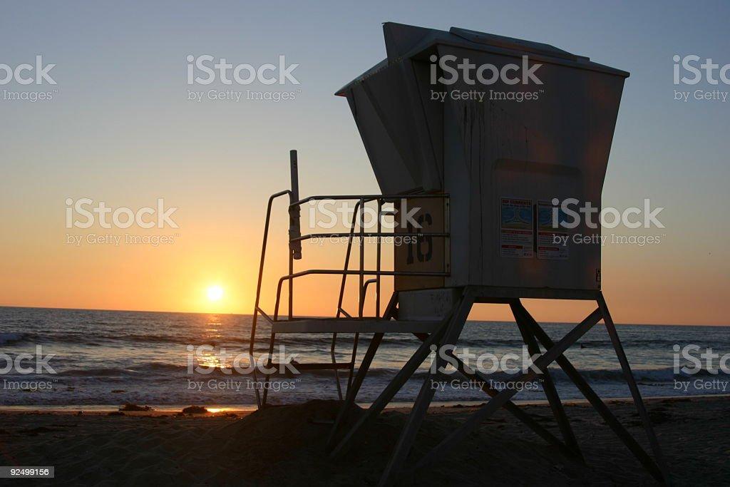 Lifeguard Tower at Sunset royalty-free stock photo