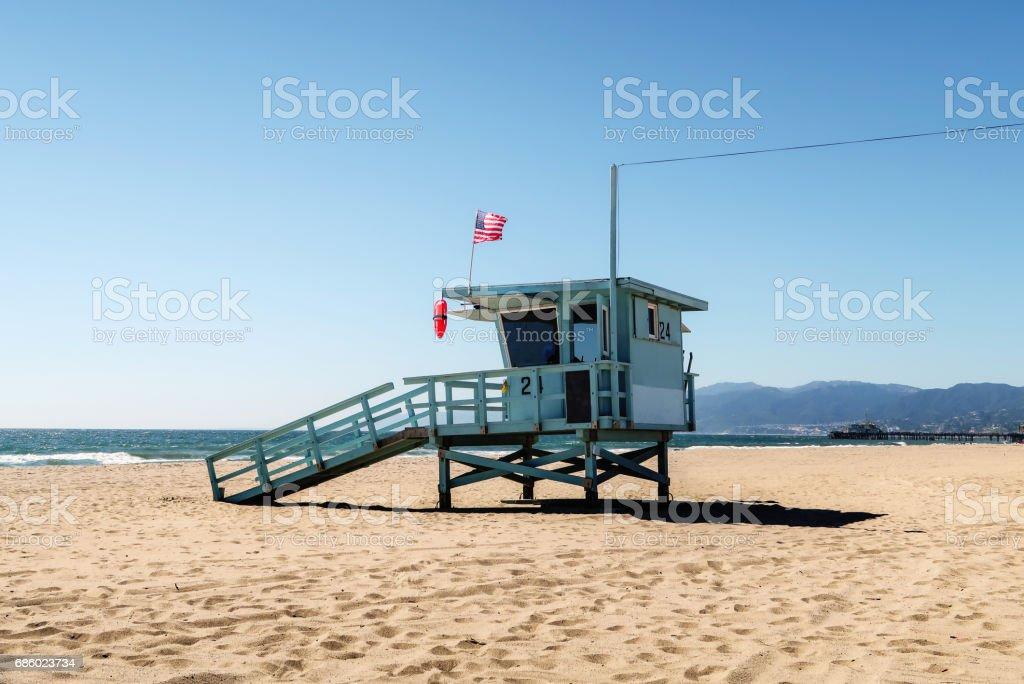 lifeguard tower at the beach in Santa Monica, California – Foto