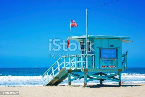 istock Lifeguard tower at Venice beach, Los Angeles, California 173443525