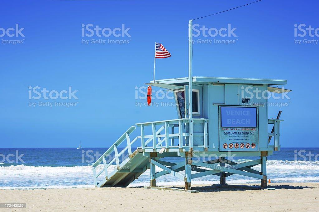 Lifeguard tower at Venice beach, Los Angeles, California stock photo