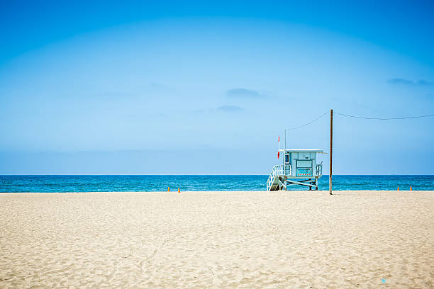 Lifeguard tower at Venice beach, Los Angeles, California stock photo