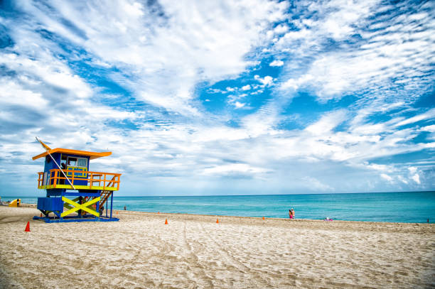 Lifeguard tower for rescue baywatch on beach in Miami, USA stock photo