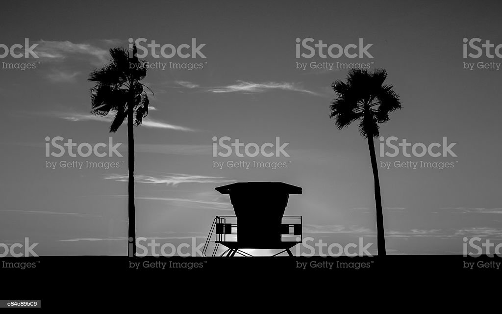 Lifeguard Tower in black and white stock photo