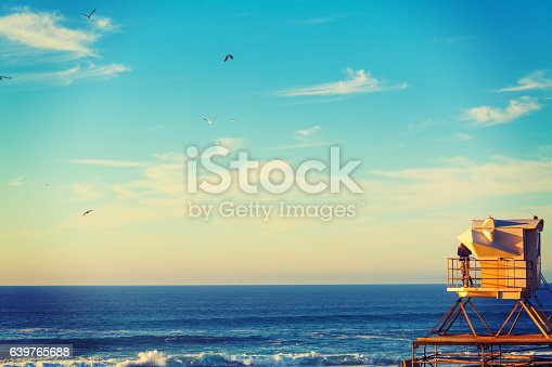 Lifeguard tower in La Jolla, California