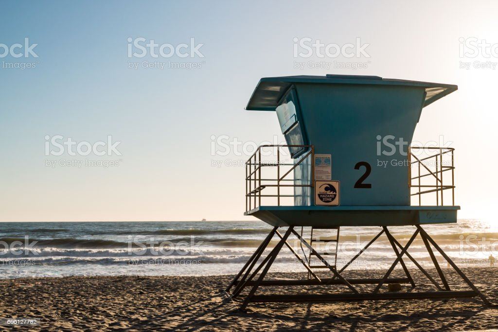 Lifeguard Tower in Oceanside, California stock photo