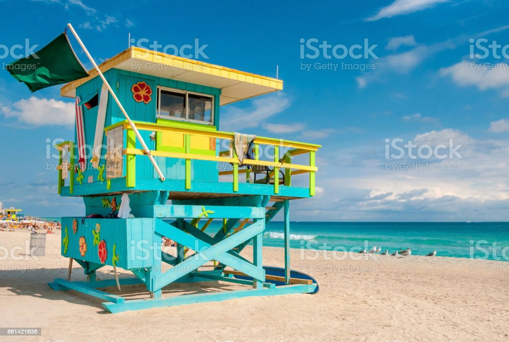 Lifeguard Tower in South Beach, Miami Beach, Florida – zdjęcie