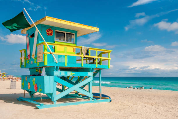 Lifeguard Tower in South Beach, Miami Beach, Florida Lifeguard Tower in South Beach, Miami Beach, Florida, USA beach hut stock pictures, royalty-free photos & images