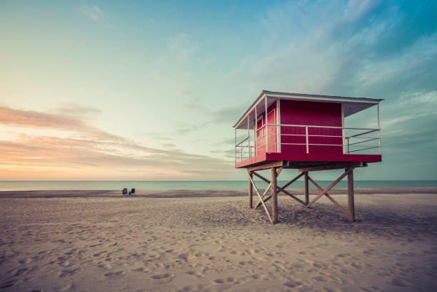 lifeguard tower low angle shoot at sunset - south stock photos and pictures