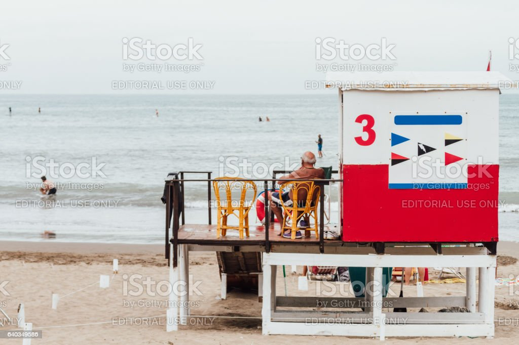 Lifeguard tower on a beach in Mar del Plata, Argentina stock photo