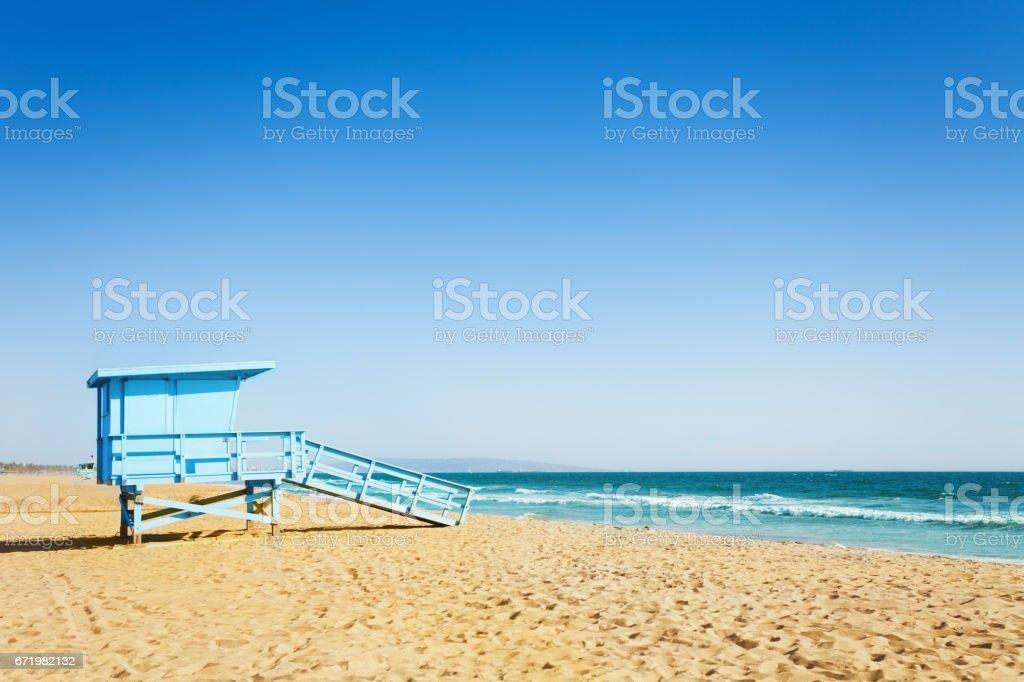 Lifeguard tower on a sandy beach of Santa Monica stock photo