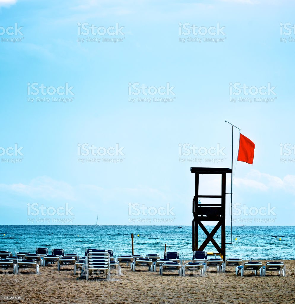 Lifeguard Tower on Beach stock photo