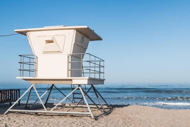 Lifeguard Tower on Moonlight Beach in Encinitas stock photo