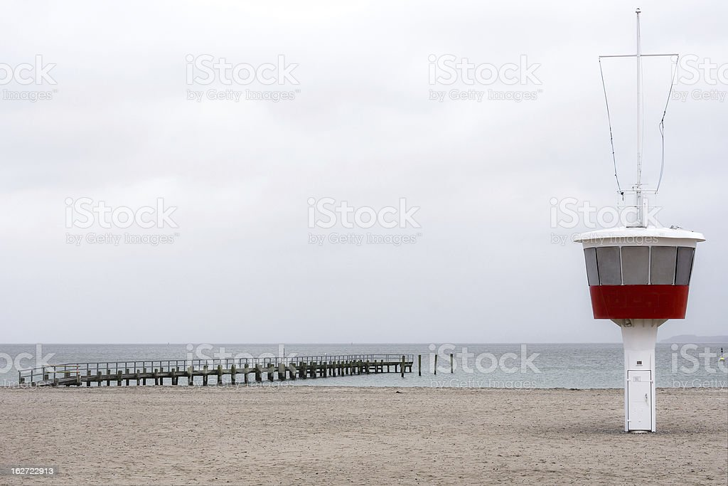 Lifeguard Tower on the Beach in Travemuende stock photo