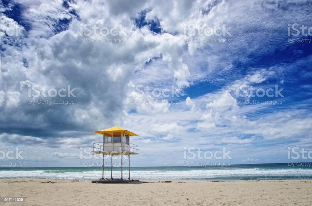 Lifeguard tower on the beach. stock photo