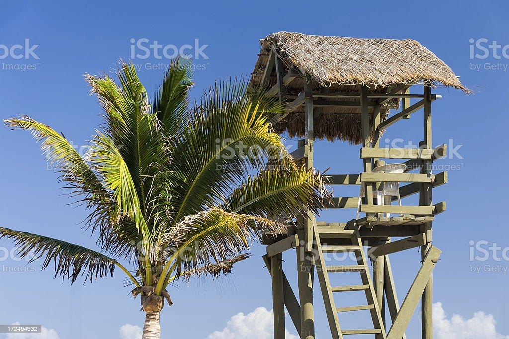 Lifeguard Tower Thatched Roof royalty-free stock photo